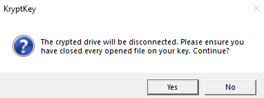 KryptKey disk drive disconnection