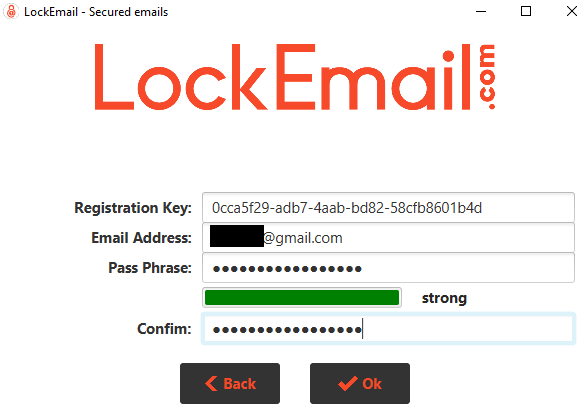 Activation form of a LockEmail account