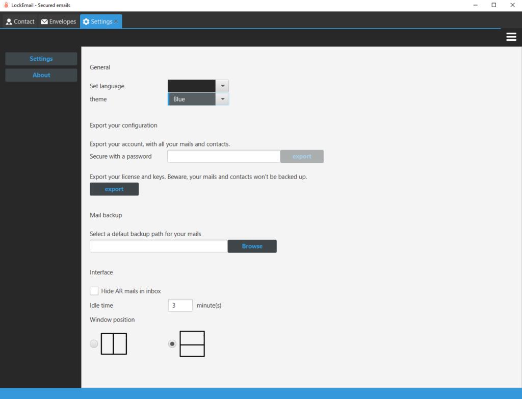 Screen cap of Lockemail's settings
